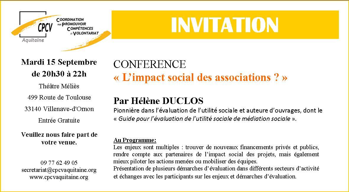 Invitation Conférence Hélène Duclos Impact Social des Associations